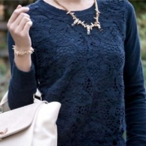 J. Crew Navy Blue Lace Front Sweatshirt Silk L